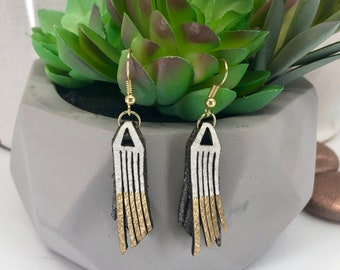 White and Gold Fringe Earrings
