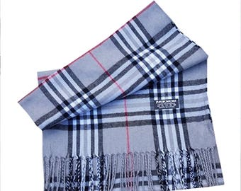 Men Super Soft Pashmina Check Luxury Feel Scarf For Day To Evening Occasions (Silver)