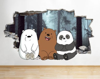 M846 Cool Cartoon Bears Forest Kid Smashed Wall Decal 3D Art Stickers Vinyl Room