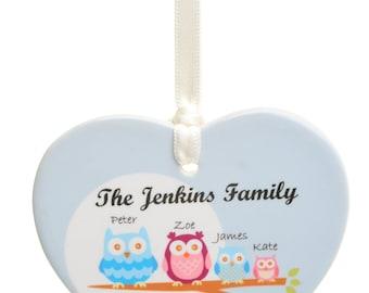 Owl Family Ceramic Heart Keepsake Personalized Decoration - Personalised Christmas Tree Decoration