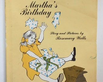Rare Collectible Martha's Birthday by Rosemary Wells ~ Martha receives a large pair of argyle socks from Aunt Elizabeth & must thank her