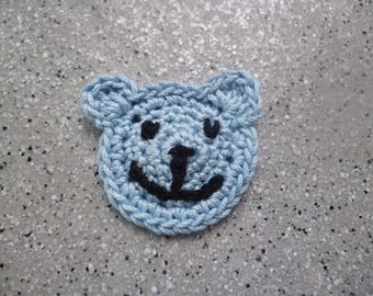 1 blue nice Teddy bear crocheted in cotton by me