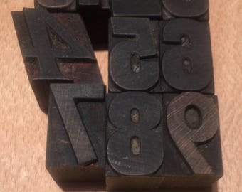 Vintage Wooden Letterpress Numbers 0 to 9  – mixed font antique (0-9B)