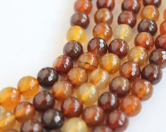 Beautiful Amber Colored Agate Faceted Round Beads 8mm - 15 Inch Strand