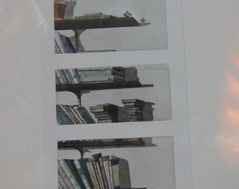 NY Contemporary Artist Linda Adato Signed Lithograph 1981 Book Ends, No. 1 of 50