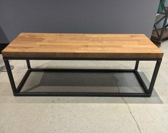 The Torkel Coffee Table - Steel legs, butcher block wood top - Modern Industrial Office Design