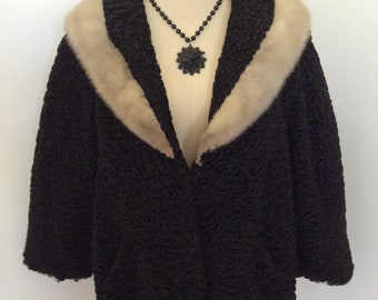 1950s black Persian lamb curly wool cropped jacket with mink collar – sz M-L