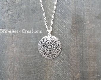 Delicate mandala necklace, silver, Boho necklace, Bohemian necklace, Mandala necklace, delicate mandala necklace, gift girlfriend, golden