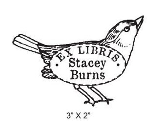 Vintage Sparrow  Personalized Bookplate Rubber Stamp H08