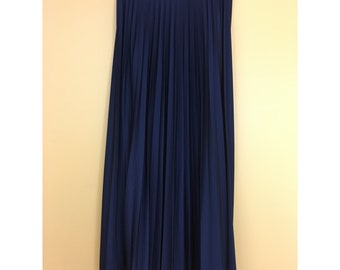 Vintage Aileen Navy Blue Long Pleated & Flared Skirt