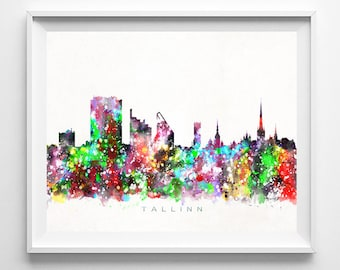 Tallinn Skyline, Print, Estonia Poster, Tallinn Wall Art, Watercolor Painting, Cityscape, Giclee Art Print, Home Decor, Fathers Day Gift