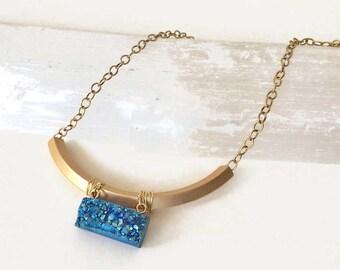 Druzy Necklace | Blue Druzy Necklace | Drusy Necklace | Gold Plated Necklace | Blue Druzy | Modern Necklace | Druzy Bar Necklace
