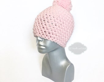 Pink Chunky Beanie with Pom, Pink Crochet Hat, Light Pink Winter Beanie With Puff, Pink Pom Pom Knit Hat, Pink Tam, Pastel Pink Ski Cap
