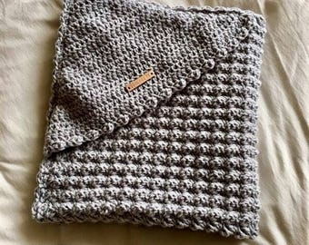 Crochet baby wrap blanket with cape