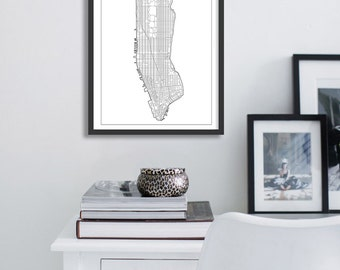 Poster print map of New York city minimalist and simple, original home decor.