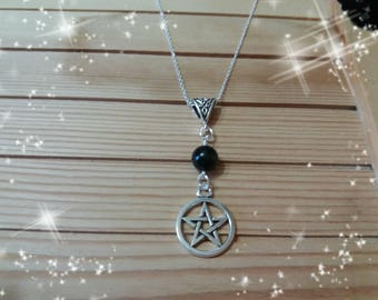 Pentacle and obsidian necklace, natural stone, Wiccan, Wicca, Pagan necklace, witch, natural stone