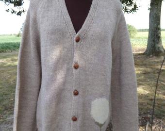 Handmade Knitted/Crocheted Men's Golf Theme Cardigan Sweater Size Medium