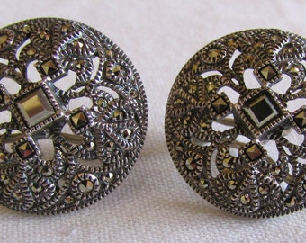 Marcasite and Sterling Silver Omega Post Earrings