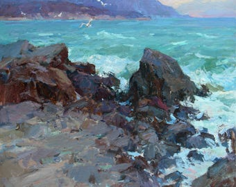 Seascape, Seacoast, Oil original painting, Oil on canvas,