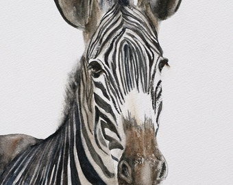 for him painting of zebra PRINT art Africa Home Decor african wall hanging  Watercolor painting zebra art zebra modern peekaboo Peek a boo
