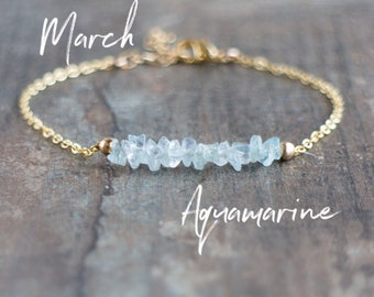 March Birthstone Bracelet, Raw Aquamarine Bracelet, Raw Stone Jewelry, Aquamarine Bar Bracelet, March Birthday, Gift for Her, Gemstone Gift