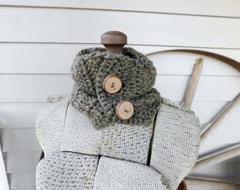 The Little Rock Granite Cowl. Rustic Bohemian Hand Crocheted Scarflette with genuine Pecan Tree Branch Buttons. Boho Chic neck Capelet