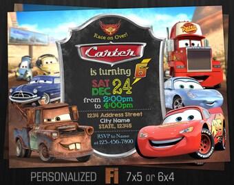Cars Invitation, Cars Birthday Party, Radiator Springs, Cars Movie, Disney Pixar, Mater, McQueen, Car, Personalized, Printable, Digital File