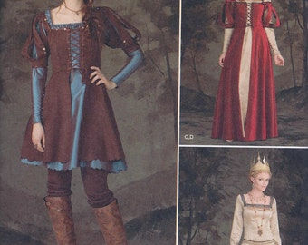 Simplicity 1773 Misses Women's Medieval Ren Faire Huntress Elf Costume Dress Laced Overdress Tunic UNCUT Sewing Pattern