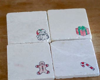 Marble Coasters Christmas Decorations/ Marble Coasters/ Christmas/ Santa Claus/ Candy Cane/ Stone Coasters/ Coaster Set/ Drink Coaster/