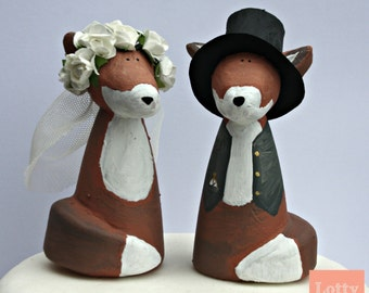 OOAK Mr and Mrs Fox Wedding Cake Toppers