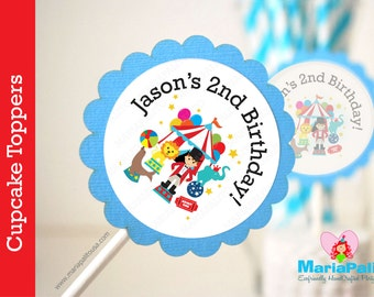 Circus Cupcake Topper, 12 Personalized Circus Party Cupcake Toppers  A1052