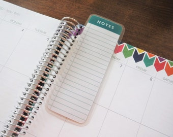 Notes Dashboard, Coil Clip In, Laminated, Double Sided  / Filofax Personal Size, Erin Condren Life Planner, Limelife, Plum Paper