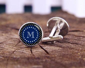 Monogram Cuff Links, Chevron Pattern Cufflinks, Custom Chevron Cufflinks, Custom Wedding Cufflinks, Groom Cufflinks, Groomsmen Cuff Links
