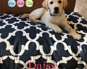 Personalized Navy Dog Bed - Large Quatrefoil Bed  - Best Custom Pet Beds | Dog Bed Pillow Covers Puppy Gifts by Three Spoiled Dogs