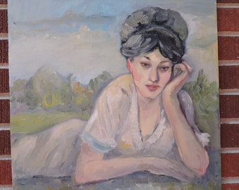 Vintage Mid-Century Impressionist DAY-DREAMING Lady in Grassy Field Portrait Original Oil PAINTING