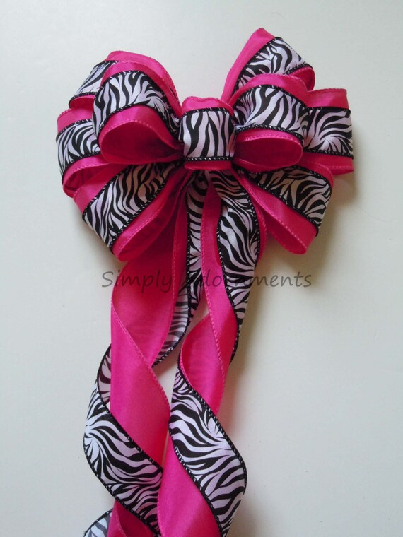 Pink Zebra Birthday Decor Pink Zebra Baby girl Birthday Party Decor Zebra Wedding Pew Bow Zebra Baby Shower Bow Zebra Themed Party Decor
