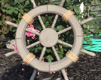 "18"" Antique Grey Nautical Ship Wheel, Decorative ship's wheel, Wood ship wheel, Vintage ship wheel, nautical decor, vintage beach decor 087"