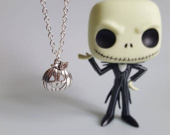Pumpkin Jack Charm Necklace, Jack Skellington, Nightmare Before Christmas, Nerd Jewelry, Tim Burton, Handmade Silver Charm Necklace