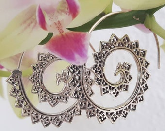 Spiral Silver earrings Peacock