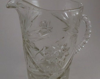 Vintage Pitcher, Heavy Clear Pressed Glass Pitcher