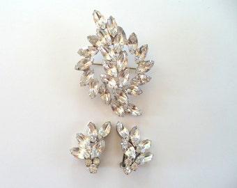 Juliana Clear Crystal Rhinestone Brooch Earrings Set Bride Formal Jewelry
