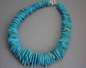 Howlite Turquoise Necklace Large Statement Necklace Blue Stone big Necklace Graduated Necklace