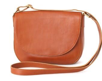 Crossbody Saddle Bag Cognac Brown, minimalistic shoulder bag