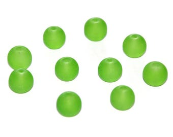 10 green beads, frosted glass 10mm