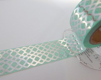 AQUA Foil Tape - 10 yards - Gift Wrap - Packaging - Paper Tape - Silver - Celtic - Wedding