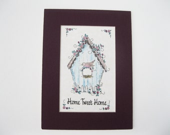 Matted Calligraphy Home Tweet Home