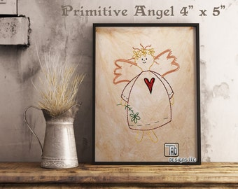 "American Folk Art Primitive Angel Machine embroidery design 4"" x 5"""