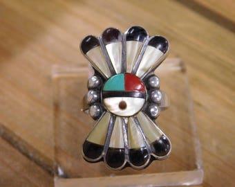 Zuni Sun face Inlay Ring Size 5.25