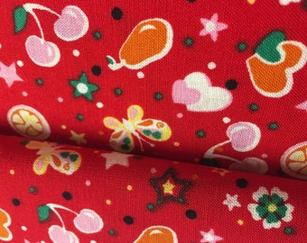 Red multicolored fruit 100% cotton fabric