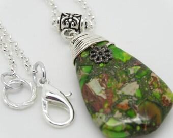 Green Pendant, Jasper Pendant, Ocean Jasper, Green Ocean Jasper, Green Necklace, Green Gemstone Pendant, Sea Jasper Pendant, Gemstone